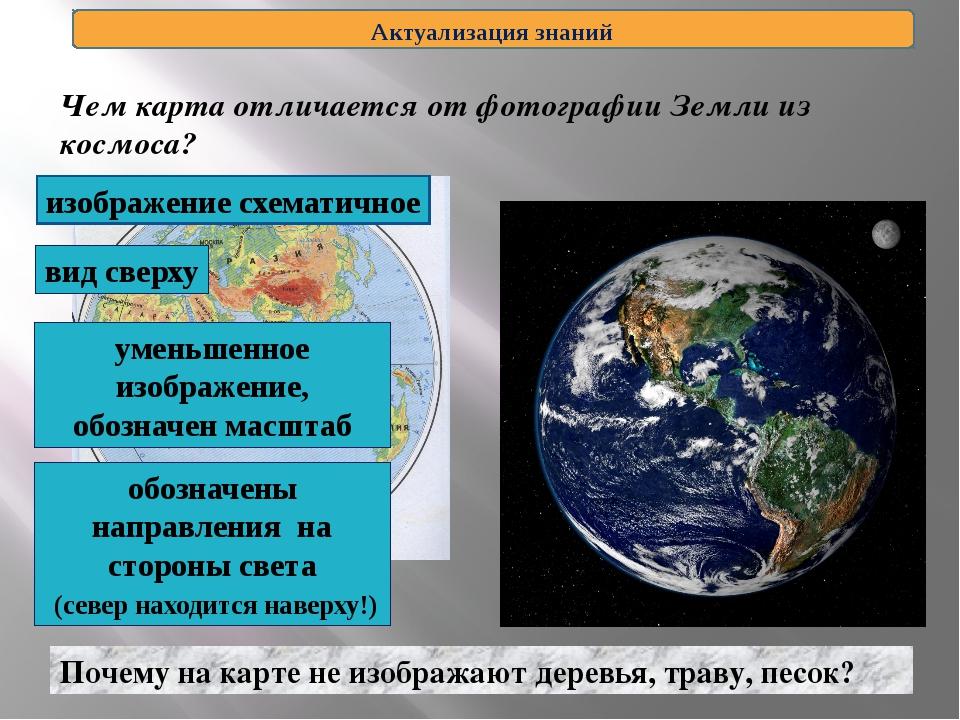 Чем карта отличается от фотографии Земли из космоса? Актуализация знаний Поче...