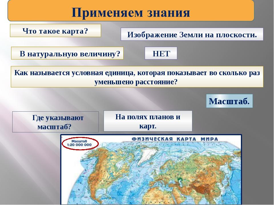 Что такое карта? Изображение Земли на плоскости. В натуральную величину? НЕТ...