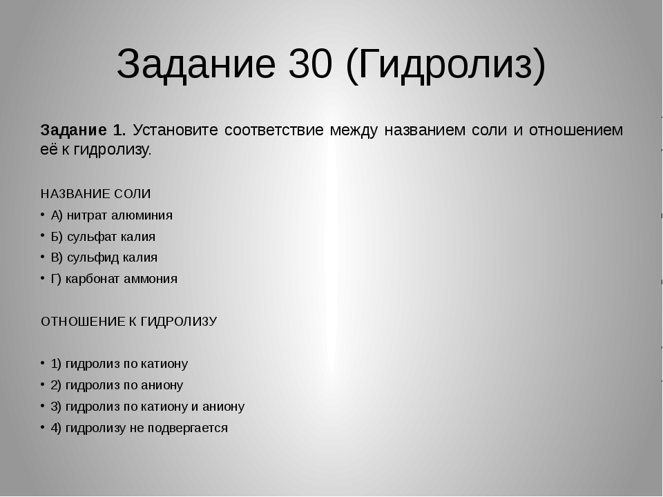 Задание 30 (Гидролиз) Задание 1. Установите соответствие между названием соли...