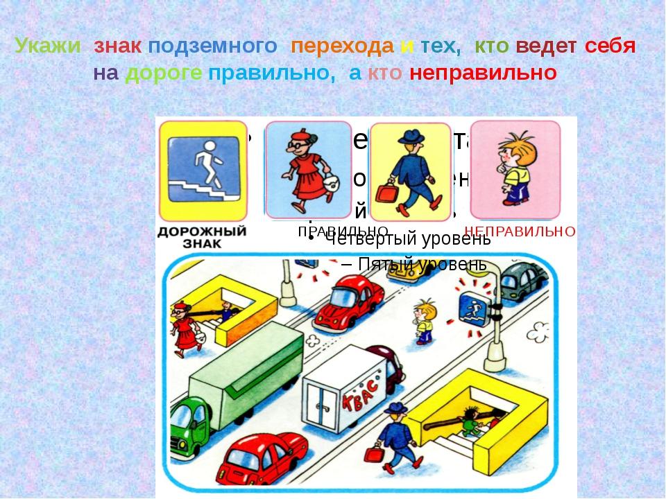 Укажи знак подземного перехода и тех, кто ведет себя на дороге правильно, а к...