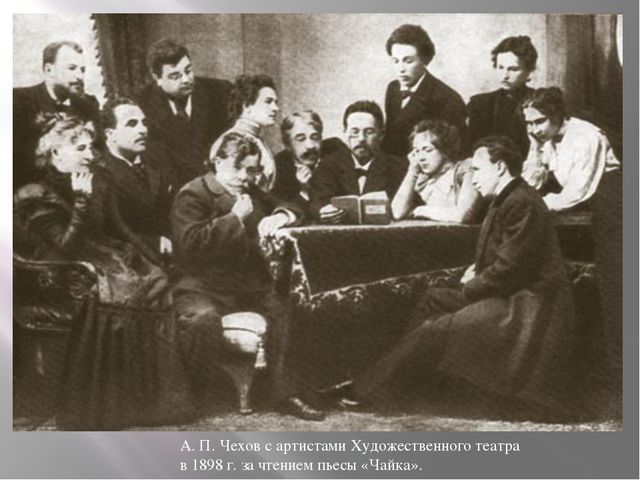 А. П. Чехов с артистами Художественного театра в 1898 г. за чтением пьесы «Ч...