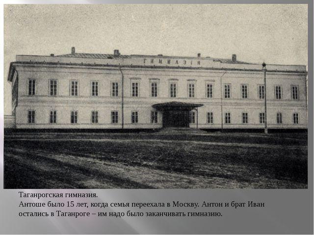Таганрогская гимназия. Антоше было 15 лет, когда семья переехала в Москву. А...