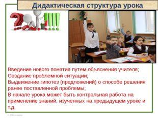 Дидактическая структура урока Введение нового понятия путем объяснения учител