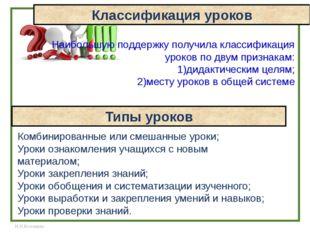Классификация уроков Наибольшую поддержку получила классификация уроков по дв