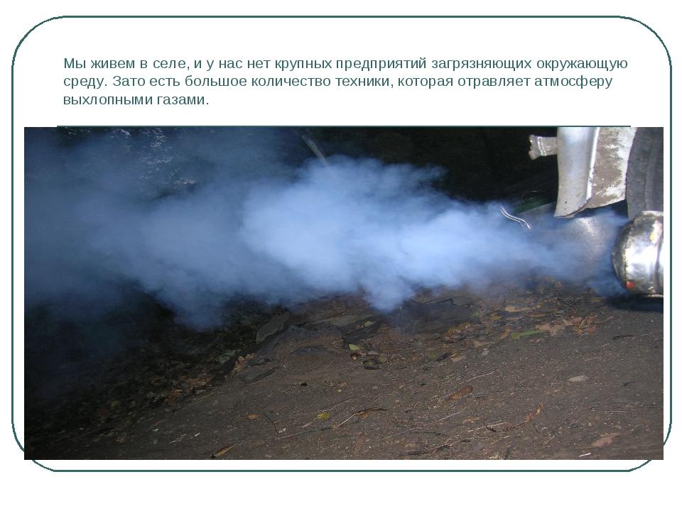 Мы живем в селе, и у нас нет крупных предприятий загрязняющих окружающую сред...