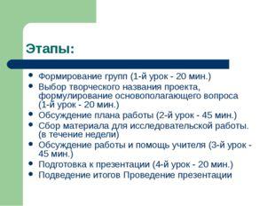 Этапы: Формирование групп (1-й урок - 20 мин.) Выбор творческого названия про