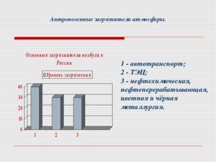 Антропогенные загрязнители атмосферы. 1 - автотранспорт; 2 - ТЭЦ; 3 - нефтехи