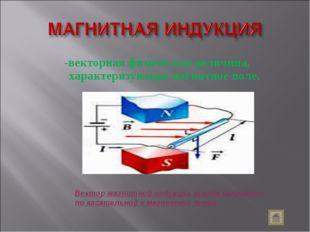 -векторная физическая величина, характеризующая магнитное поле. Вектор магнит