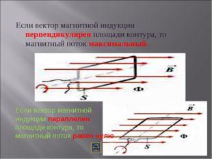 Если вектор магнитной индукции перпендикулярен площади контура, то магнитный