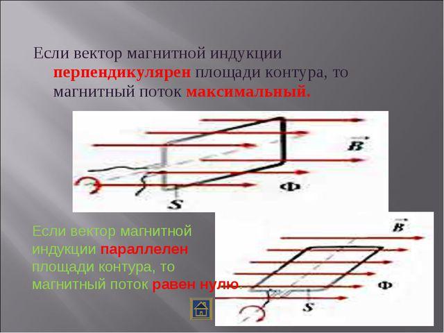 Если вектор магнитной индукции перпендикулярен площади контура, то магнитный...