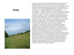 Почва Территория расположена в пределах крупного спускания коренных пород- Ме