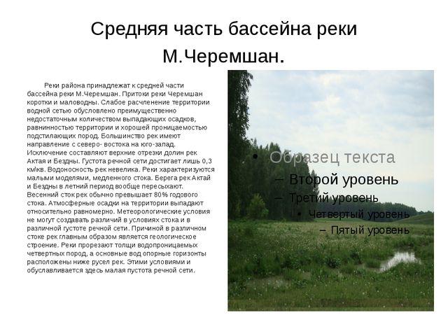 Средняя часть бассейна реки М.Черемшан. Реки района принадлежат к средней час...