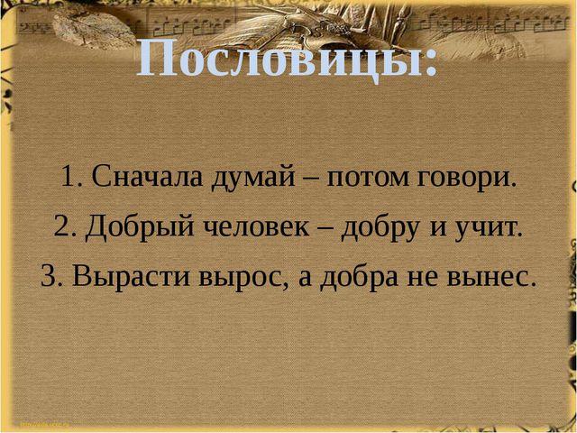 Пословицы: 1. Сначала думай – потом говори. 2. Добрый человек – добру и учит....