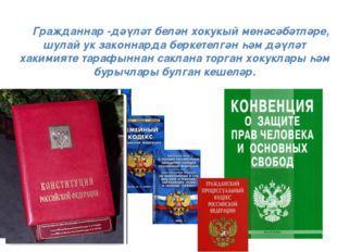 Гражданнар -дәүләт белән хокукый мөнәсәбәтләре, шулай ук законнарда беркетел