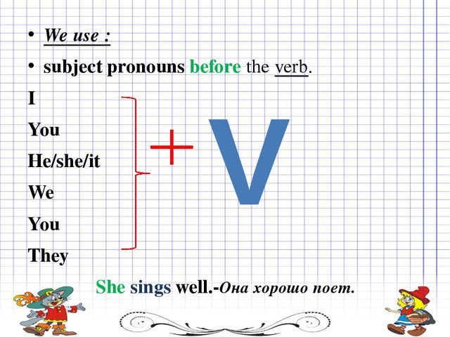 We use : subject pronouns before the verb. I You He/she/it We You They She...