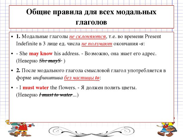 Общие правила для всех модальных глаголов 1.Модальные глаголыне склоняются,...