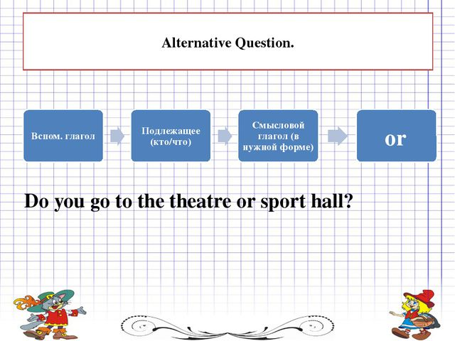 or Alternative Question. Do you go to the theatre or sport hall?