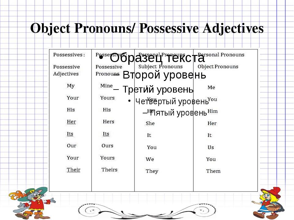 Object Pronouns/ Possessive Adjectives