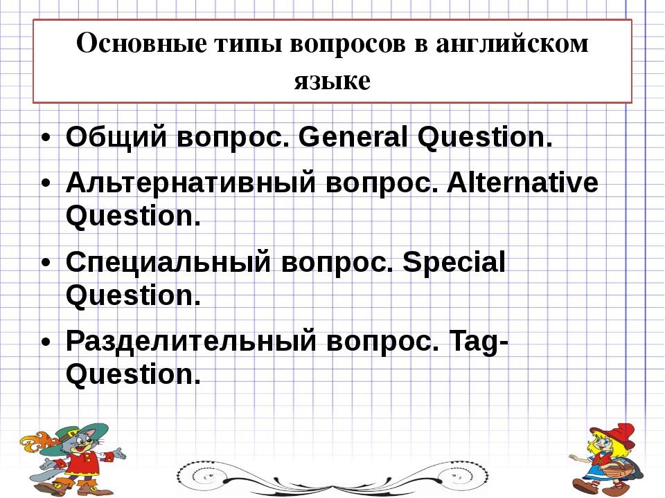 Основные типы вопросов в английском языке Общий вопрос. General Question. Аль...