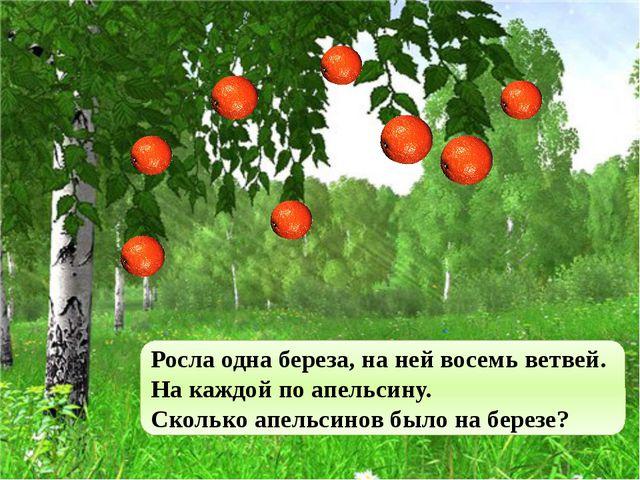 Росла одна береза, на ней восемь ветвей. На каждой по апельсину. Сколько апел...