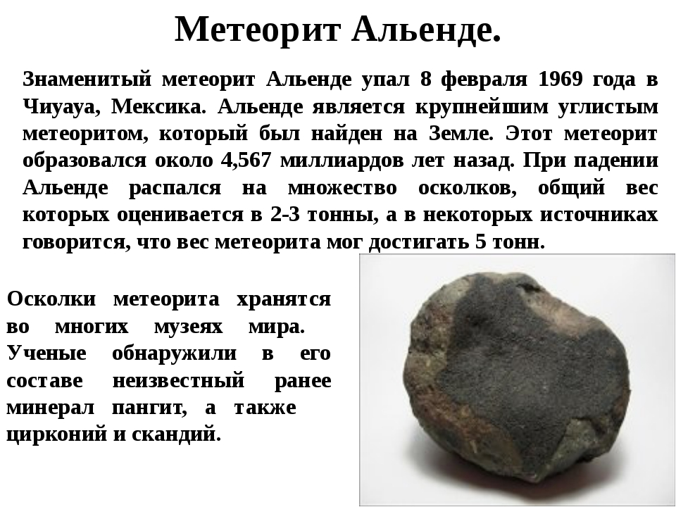 Метеорит Альенде. Знаменитый метеорит Альенде упал 8 февраля 1969 года в Чиуа...