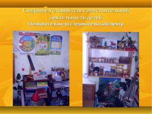 Создание условий для самостоятельной деятельности детей Познавательно-исследо