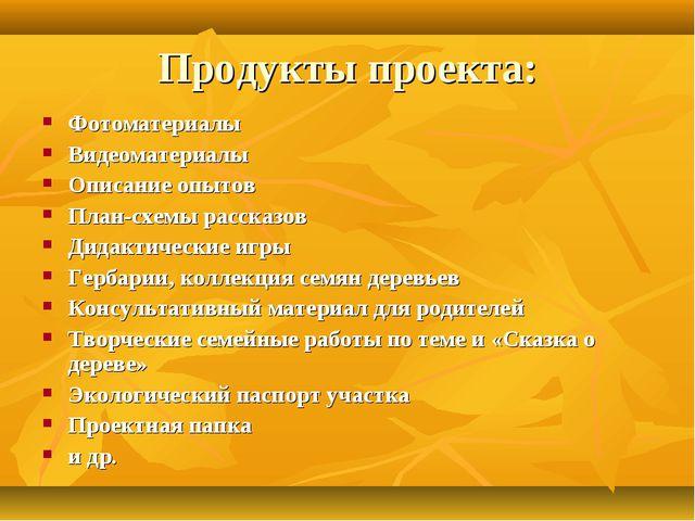 Продукты проекта: Фотоматериалы Видеоматериалы Описание опытов План-схемы рас...