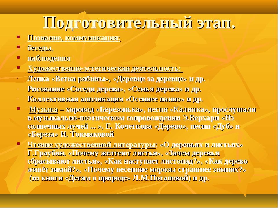Подготовительный этап. Познание, коммуникация: беседы, наблюдения Художествен...