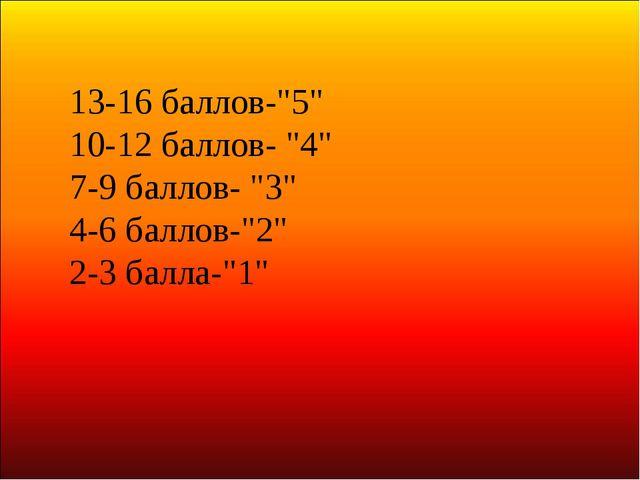 """13-16 баллов-""""5"""" 10-12 баллов- """"4"""" 7-9 баллов- """"3"""" 4-6 баллов-""""2"""" 2-3 балла-""""1"""""""