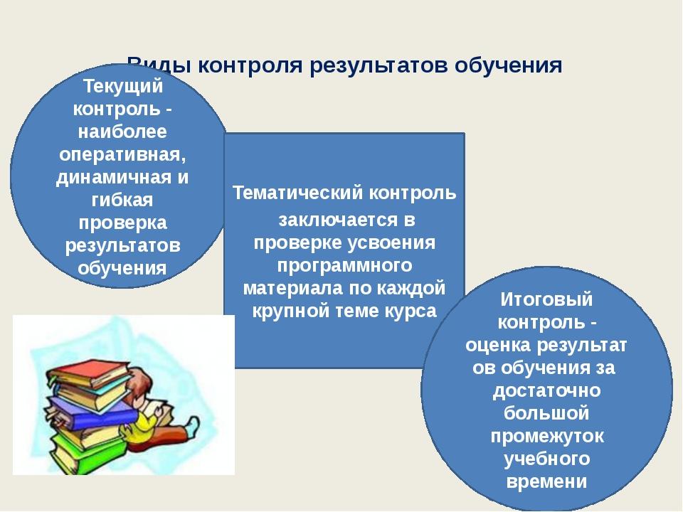 Виды контроля результатов обучения Текущий контроль - наиболее оперативная,...