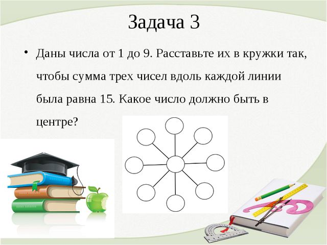 Задача 3 Даны числа от 1 до 9. Расставьте их в кружки так, чтобы сумма трех ч...