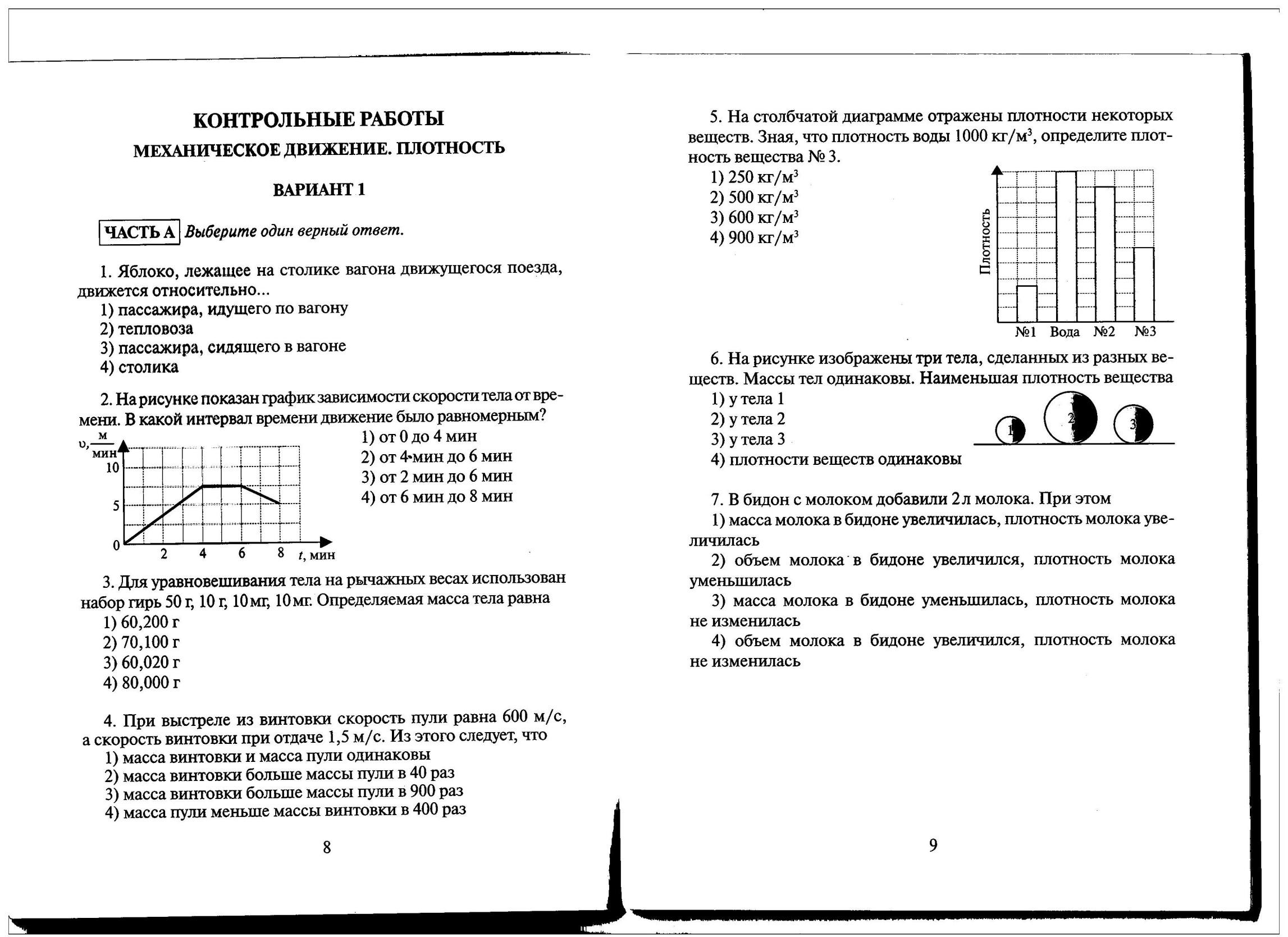 Контрольная работа по физике 2 четверть 3866