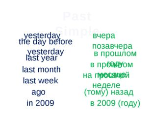 Past Simple yesterday вчера the day before yesterday позавчера last year в пр