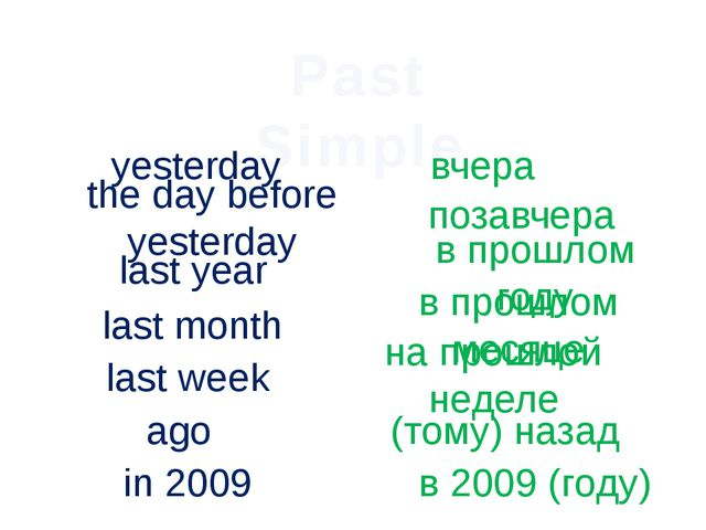 Past Simple yesterday вчера the day before yesterday позавчера last year в пр...
