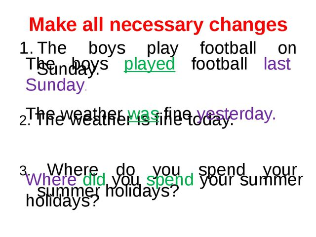 Make all necessary changes The boys play football on Sunday. 2. The weather...