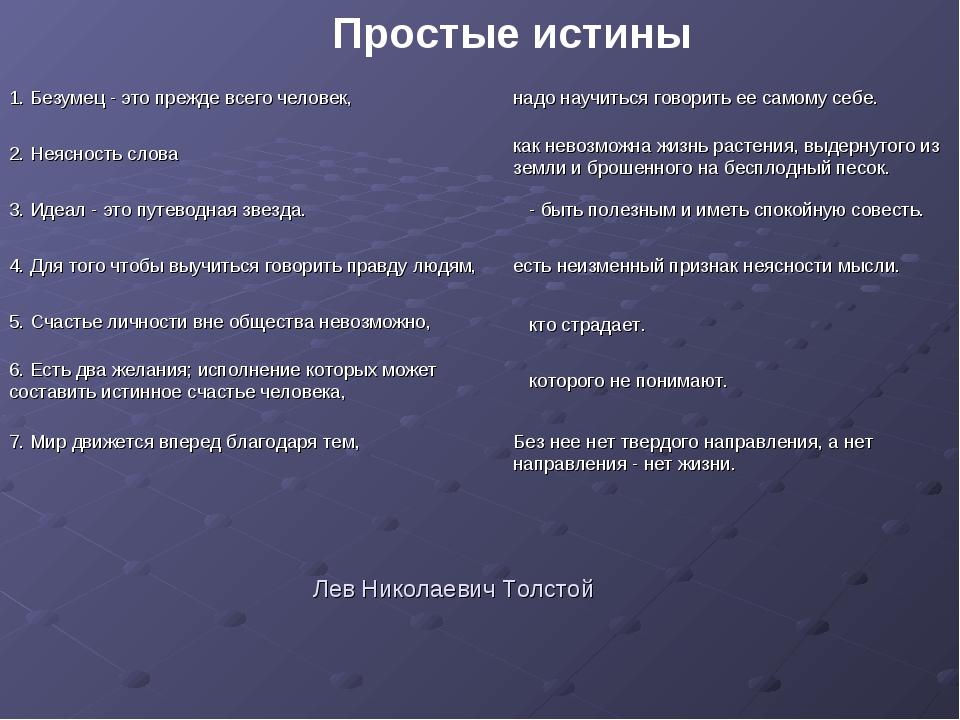 Лев Николаевич Толстой 1. Безумец - это прежде всего человек, 2. Неясность сл...