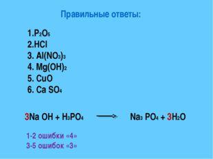 Правильные ответы: 1.P2O5 2.HCl 3. Al(NO3)3 4. Mg(OH)2 5. CuO 6. Ca SO4 3Na O