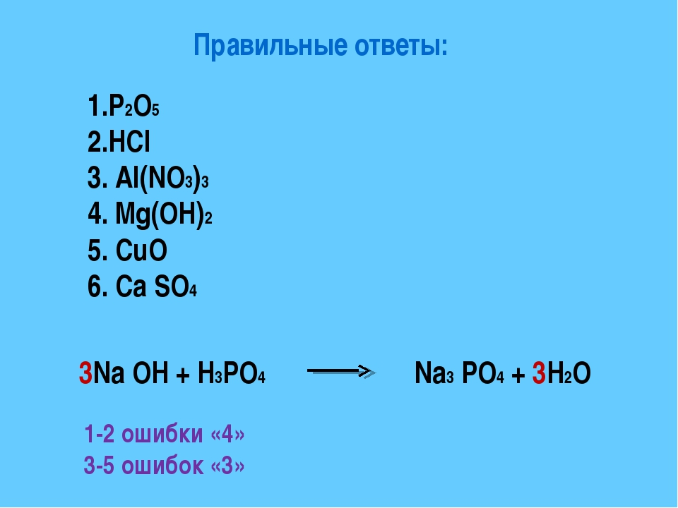 Правильные ответы: 1.P2O5 2.HCl 3. Al(NO3)3 4. Mg(OH)2 5. CuO 6. Ca SO4 3Na O...