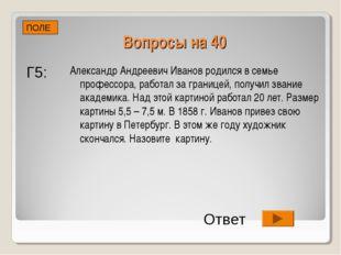 Вопросы на 40 Александр Андреевич Иванов родился в семье профессора, работал