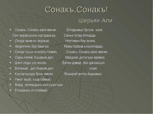 Сонакъ,Сонакъ! Шерьян Али Сонакъ, Сонакъ-азиз мекян, Ёлларымыз бугунь кене Се