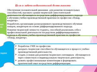 Цель и задачи педагогической деятельности Цель педагогической деятельности з