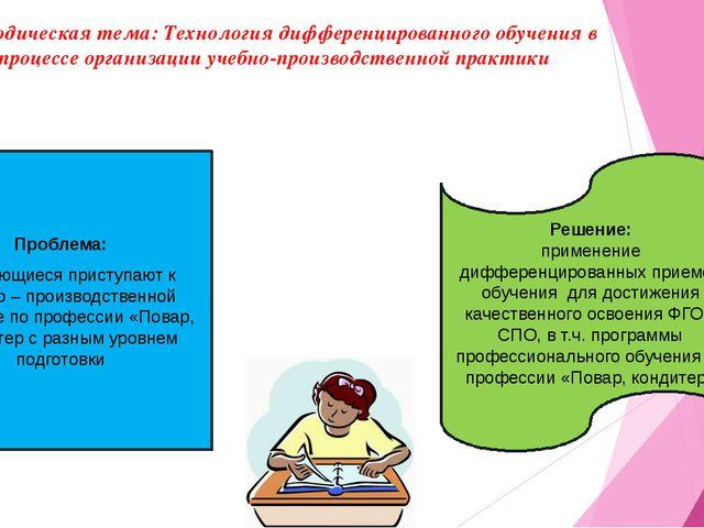 Методическая тема: Технология дифференцированного обучения в процессе организ...
