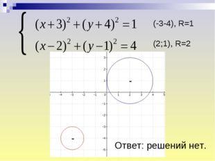 Ответ: решений нет. (-3-4), R=1 (2;1), R=2