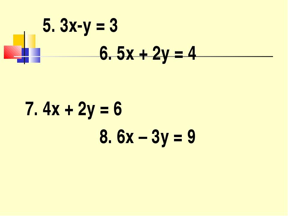 5. 3x-y = 3 6. 5x + 2y = 4 7. 4x + 2y = 6 8. 6x – 3y = 9