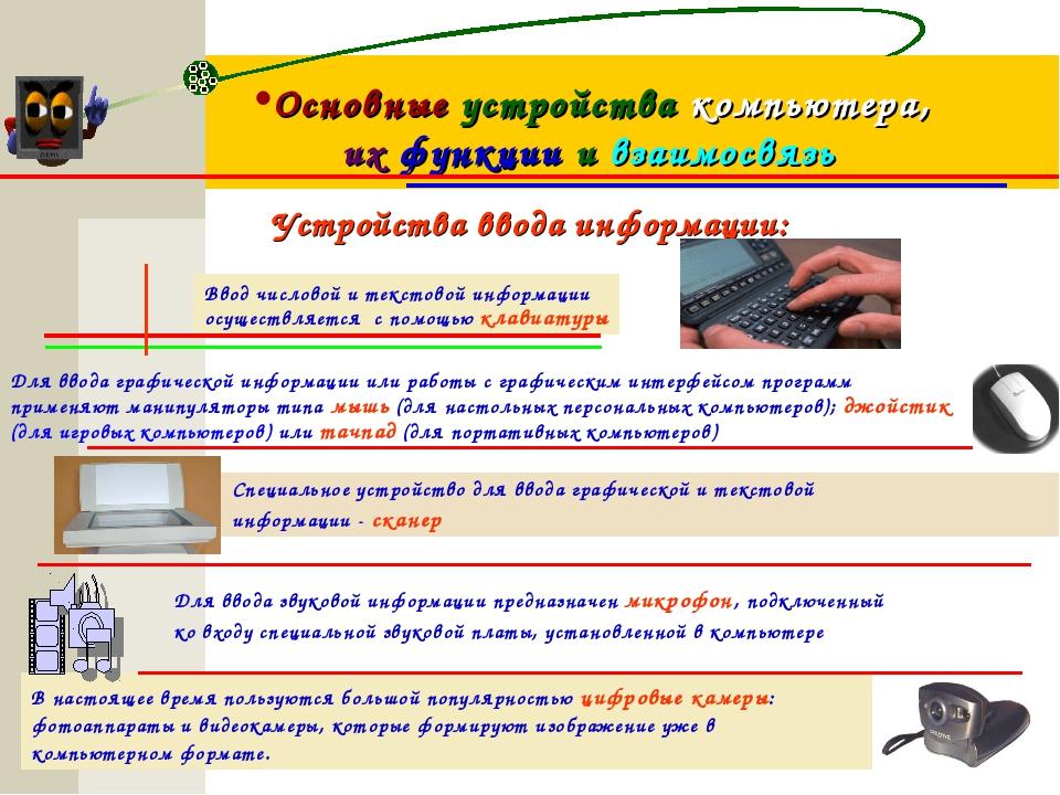 Основные устройства компьютера, их функции и взаимосвязь Устройства ввода инф...