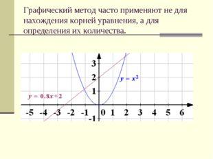 Графический метод часто применяют не для нахождения корней уравнения, а для о