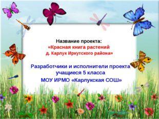 Название проекта: «Красная книга растений д. Карлук Иркутского района» Разраб