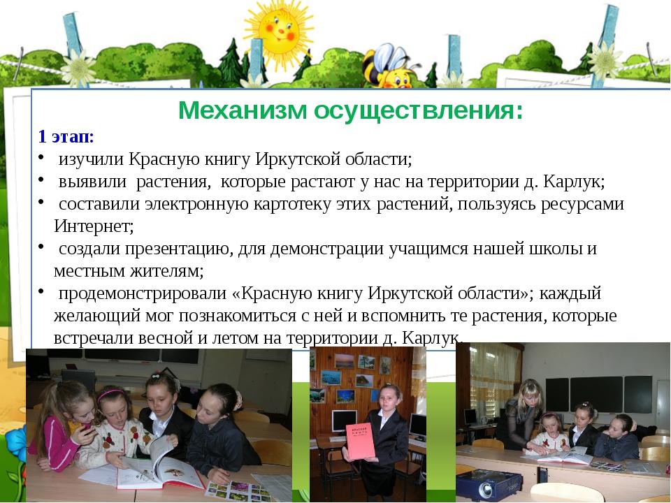 Механизм осуществления: 1 этап: изучили Красную книгу Иркутской области; выяв...