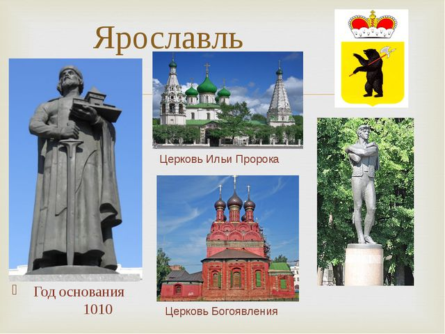 Год основания 1010 Ярославль Церковь Ильи Пророка Церковь Богоявления