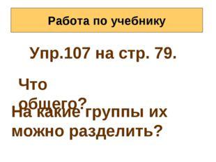 Работа по учебнику Упр.107 на стр. 79. Что общего? На какие группы их можно р
